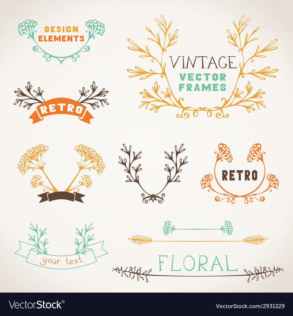 Set of nature design elements vector | Price: 1 Credit (USD $1)