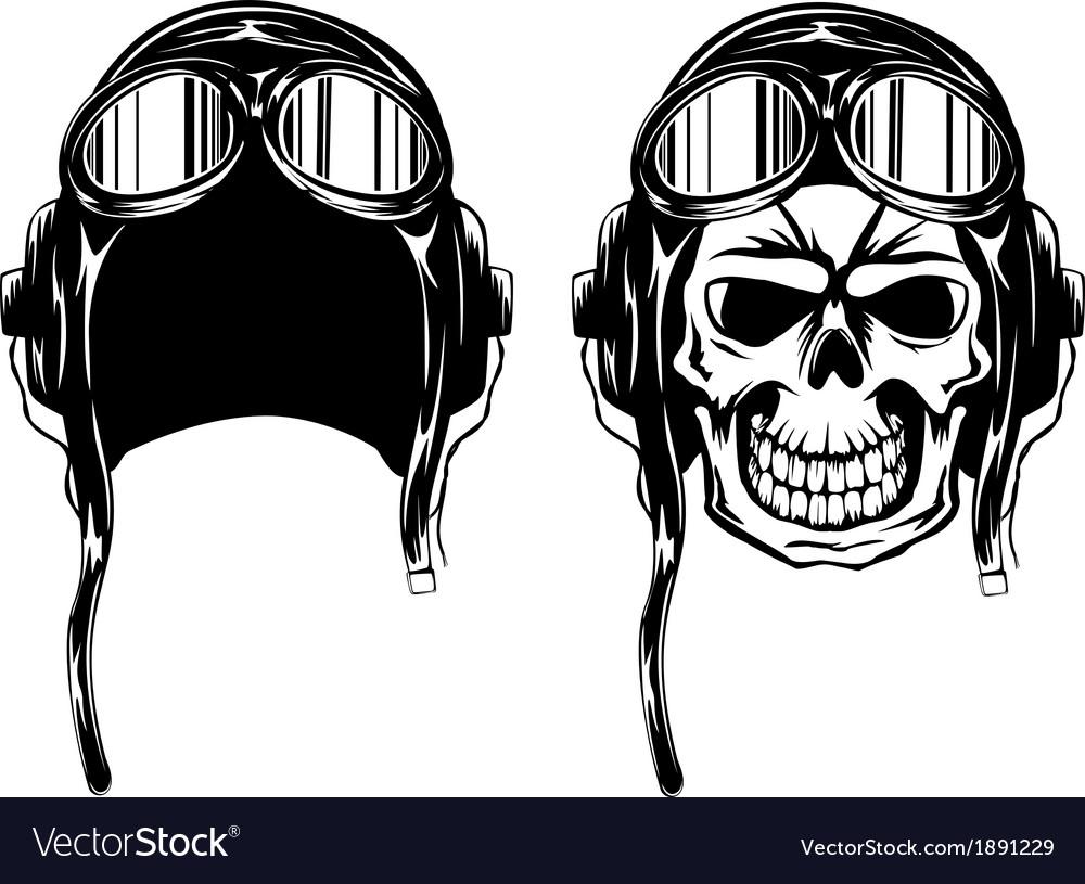 Skull in pilots helmet vector | Price: 1 Credit (USD $1)