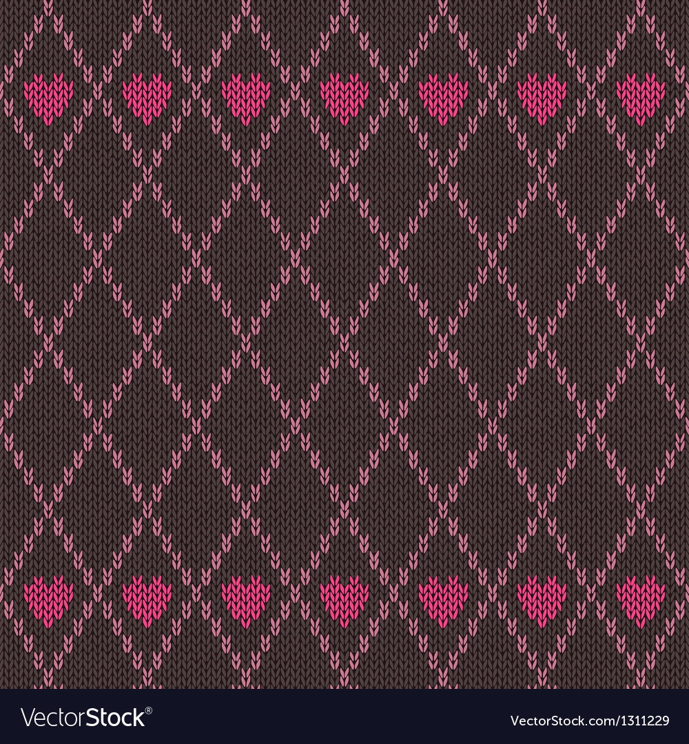 Style seamless pink brown color knitted pattern vector   Price: 1 Credit (USD $1)