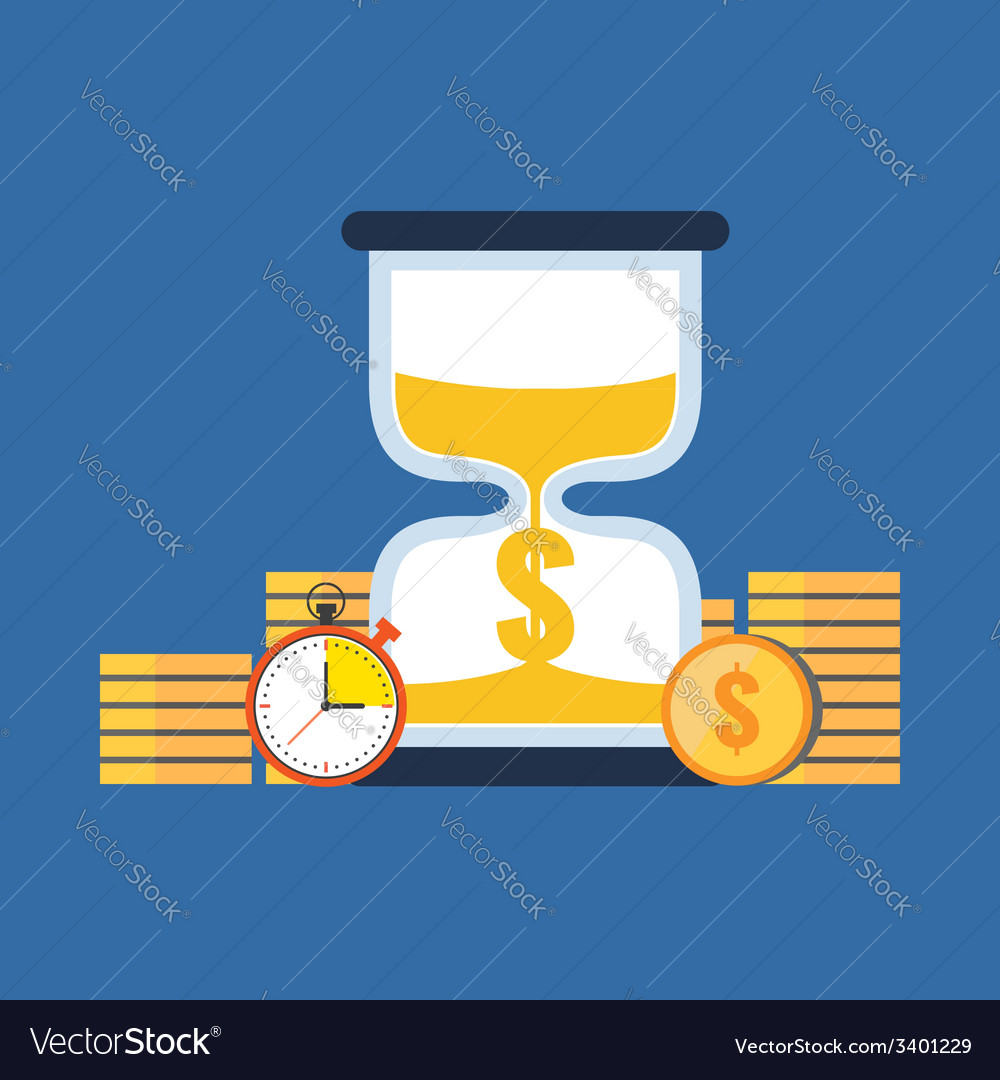 Time is money concept flat design stylish isolated vector | Price: 1 Credit (USD $1)
