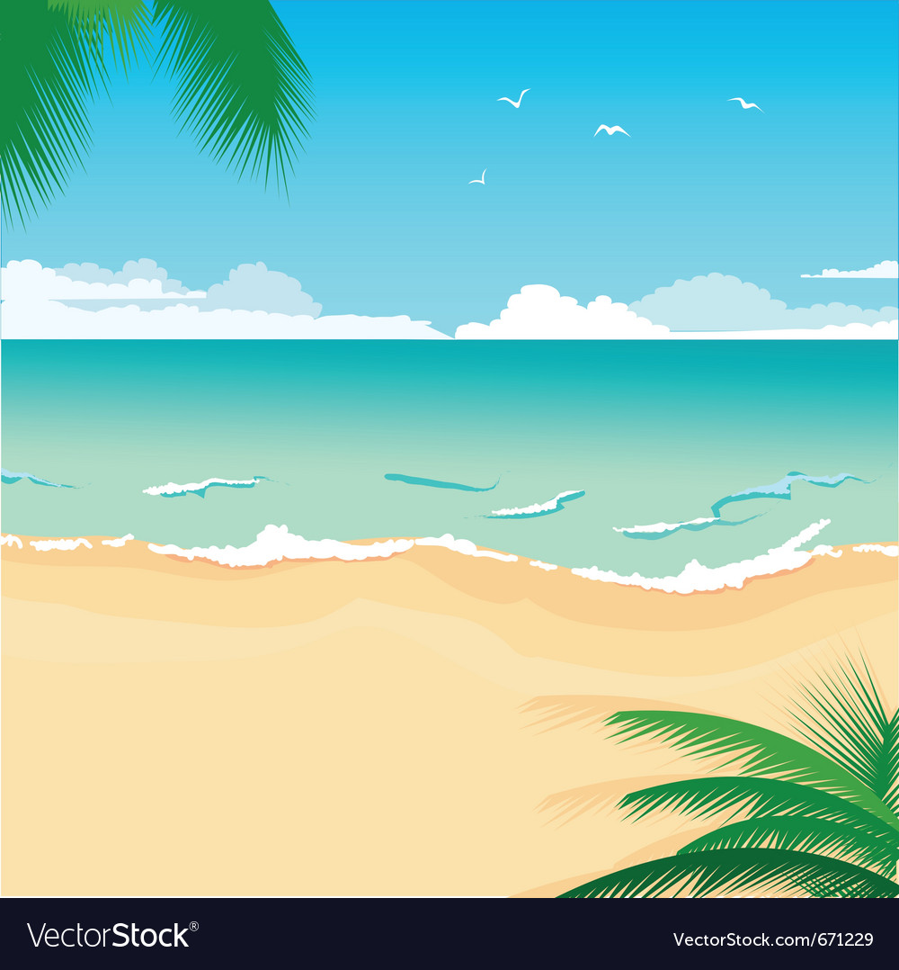 Tropical beach vector | Price: 1 Credit (USD $1)