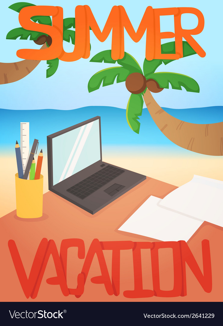 Vacation background card design vector | Price: 1 Credit (USD $1)