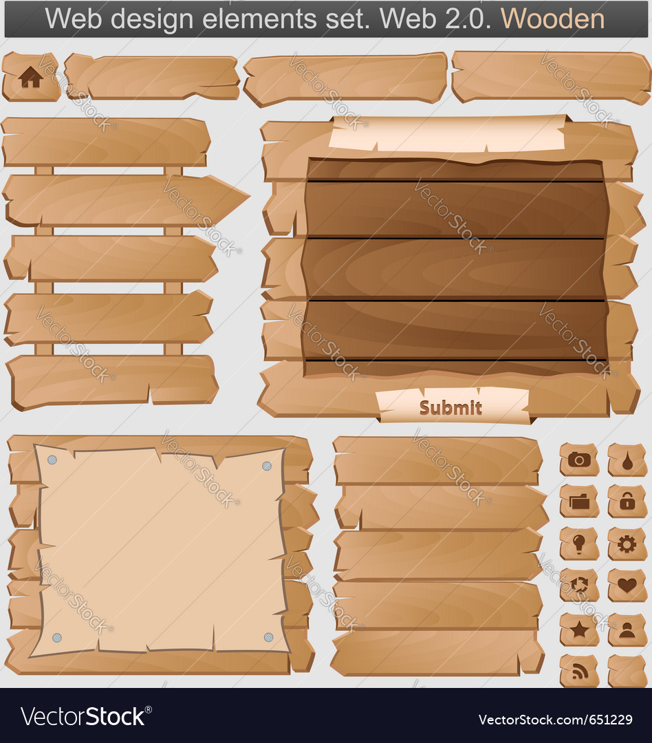 Wooden web elements set vector | Price: 1 Credit (USD $1)