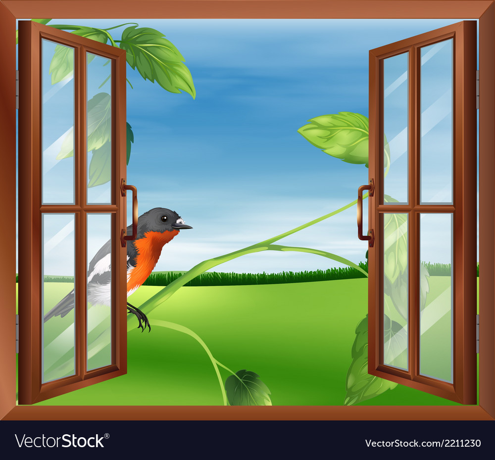An open window with a view of the bird outside vector | Price: 1 Credit (USD $1)