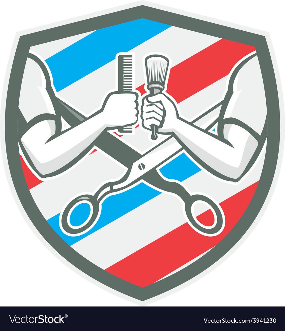 Barber hand comb brush scissors shield retro vector