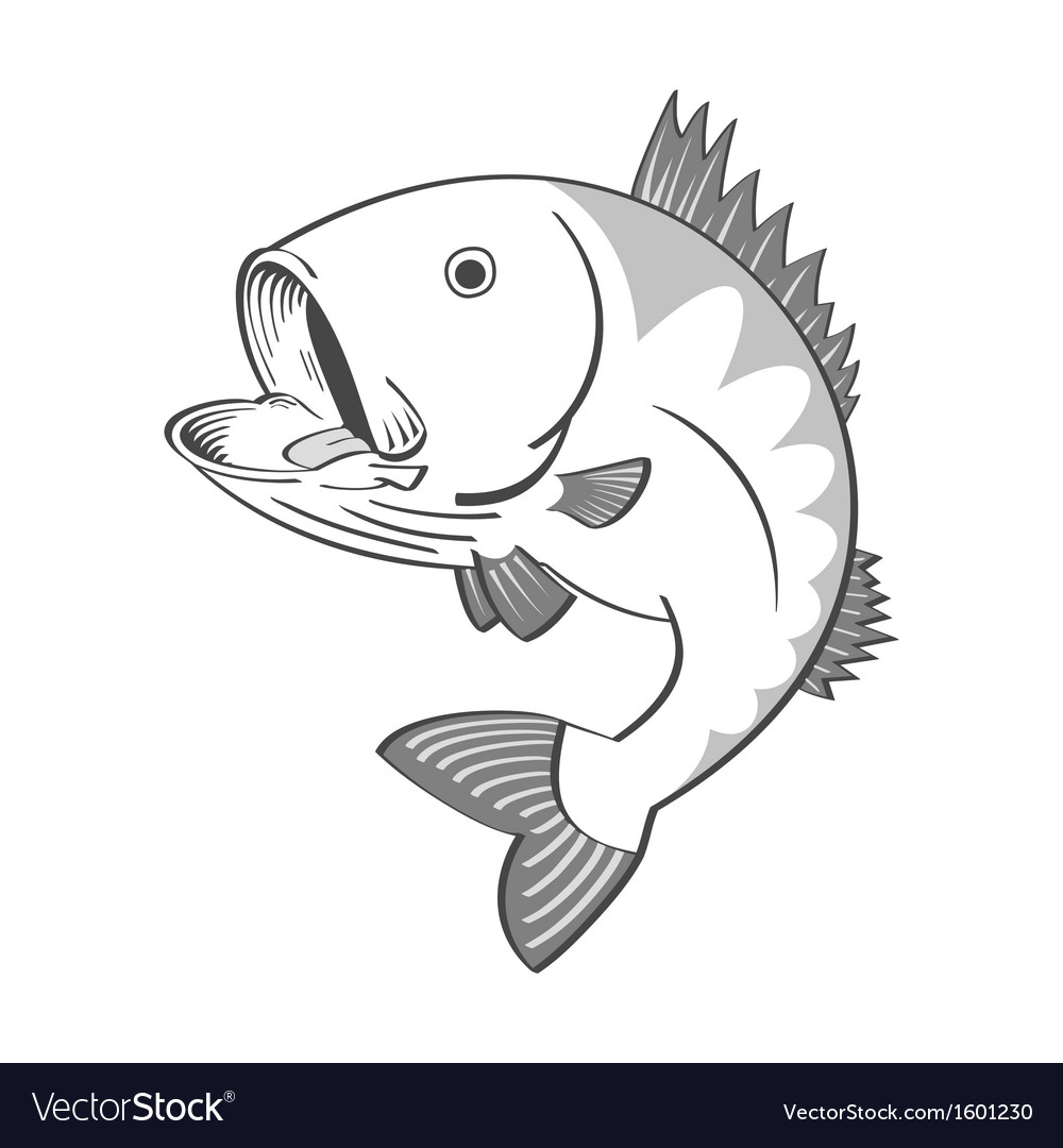 Black and white fish vector | Price: 1 Credit (USD $1)