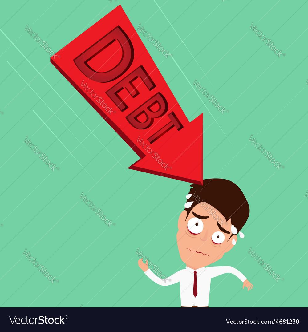 Businessman worried about big debt debt concept vector | Price: 1 Credit (USD $1)