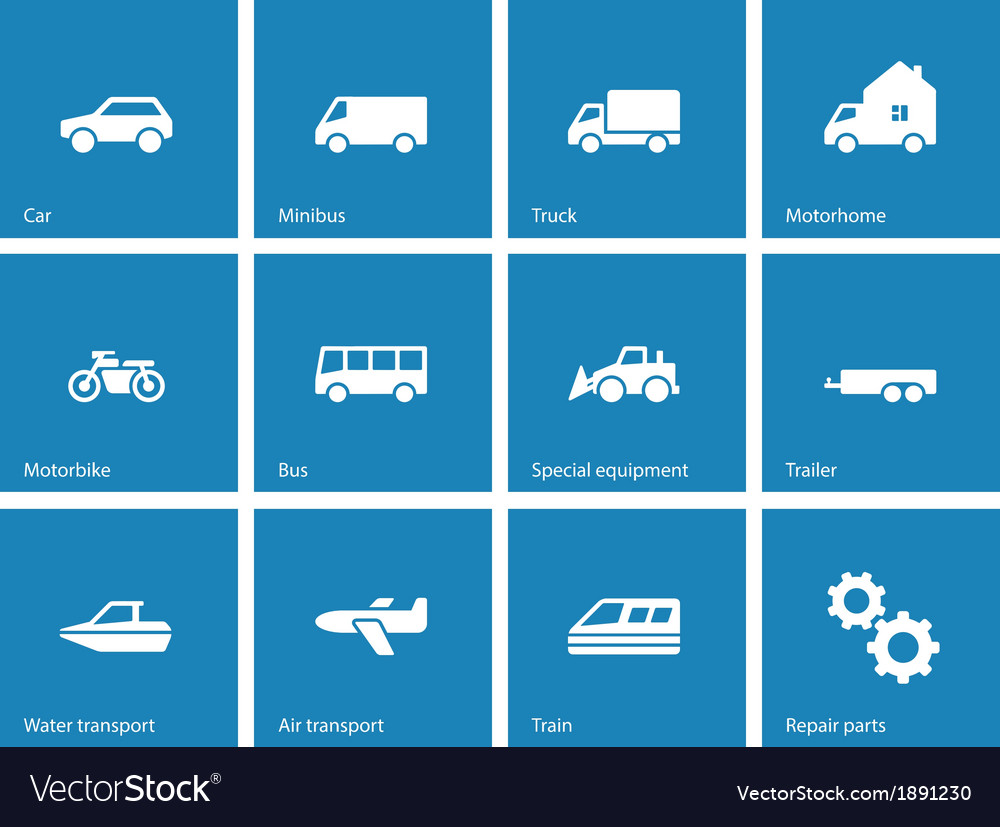 Cars and transport icons on blue background vector | Price: 1 Credit (USD $1)