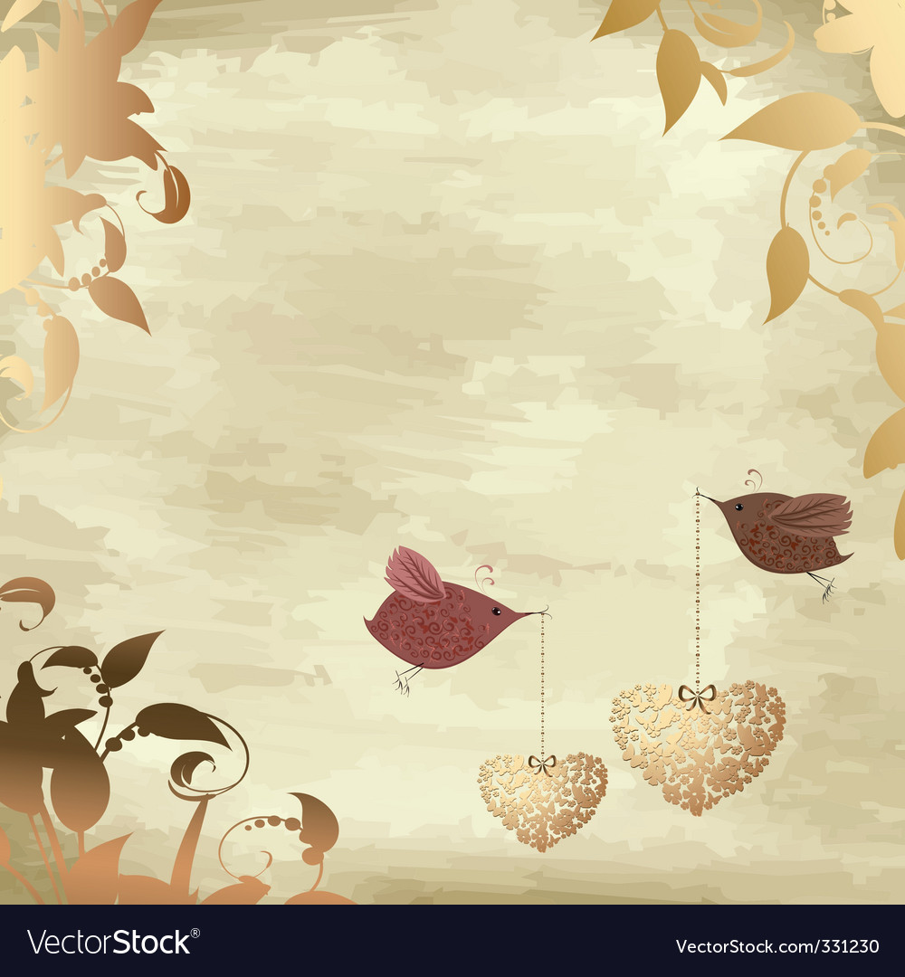 Gold valentines with a bird vector | Price: 1 Credit (USD $1)