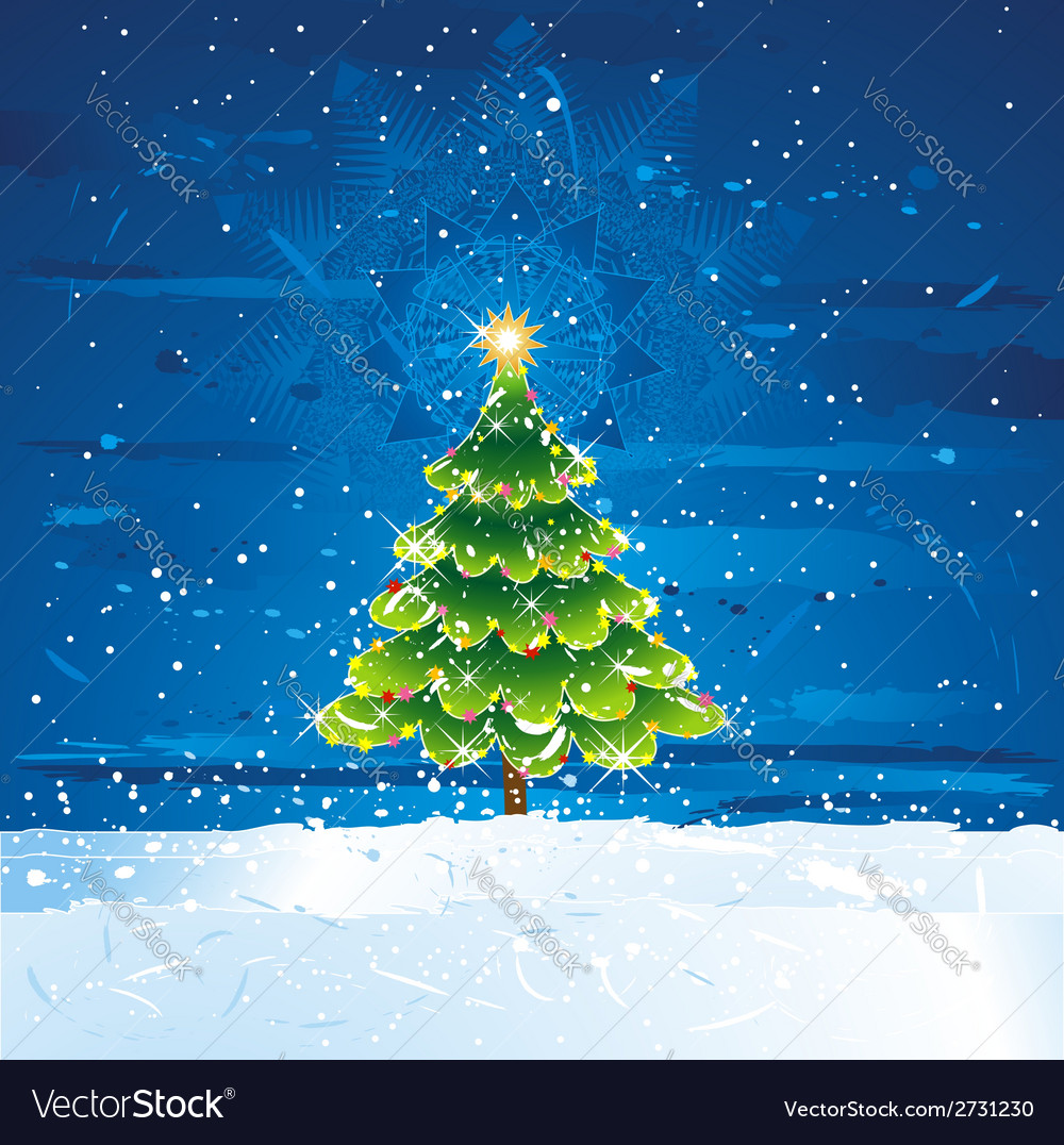 Green christmas tree in dark night vector | Price: 1 Credit (USD $1)