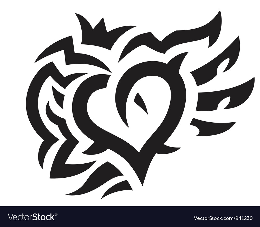 Heart with crown and wings tattoo vector | Price: 1 Credit (USD $1)