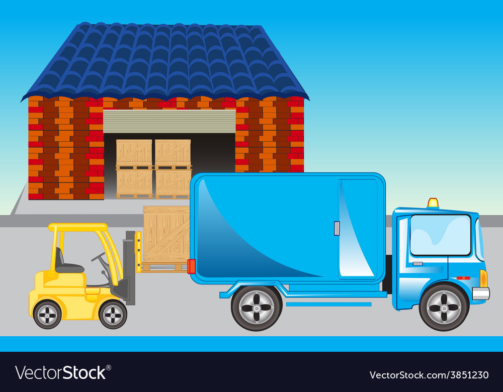 Loading of goods on storehouse vector | Price: 1 Credit (USD $1)