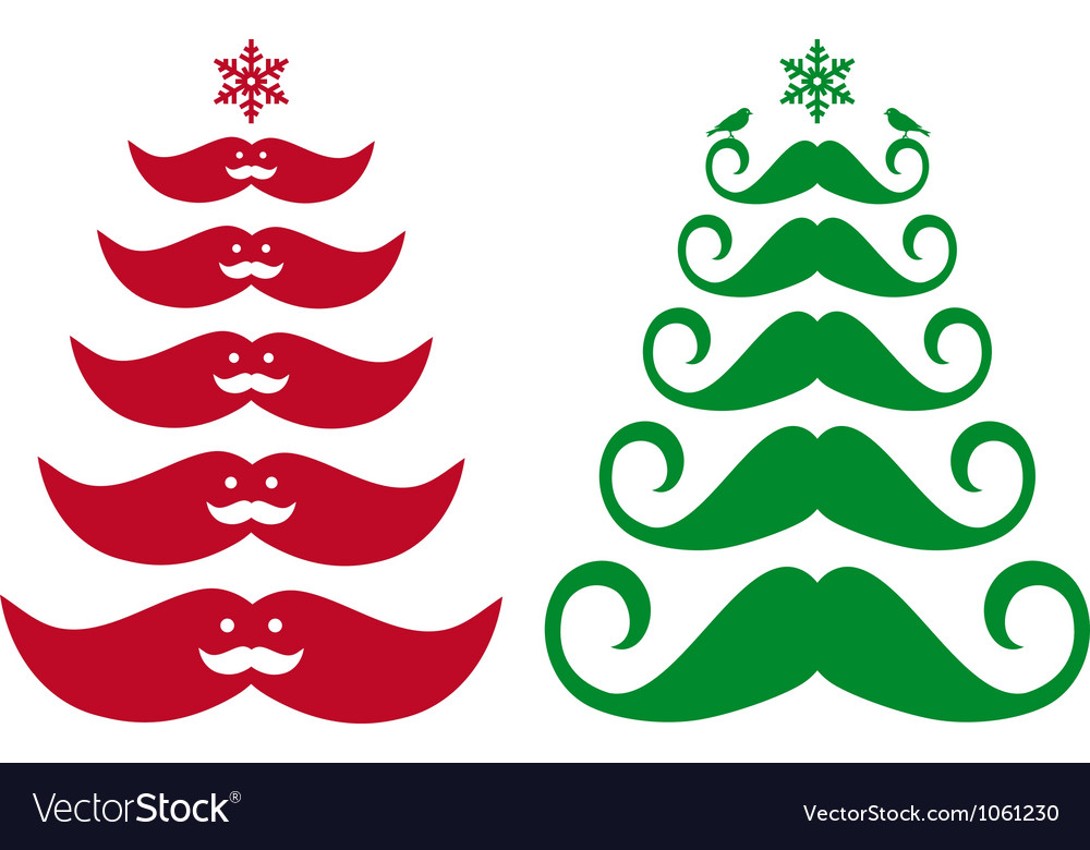 Mustache christmas trees vector | Price: 1 Credit (USD $1)
