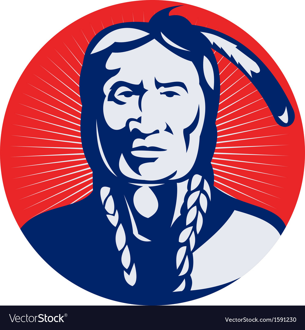 Native american indian chief facing front vector | Price: 1 Credit (USD $1)