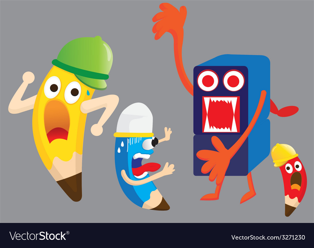 Pencil cartoon are fear sharpener vector | Price: 1 Credit (USD $1)