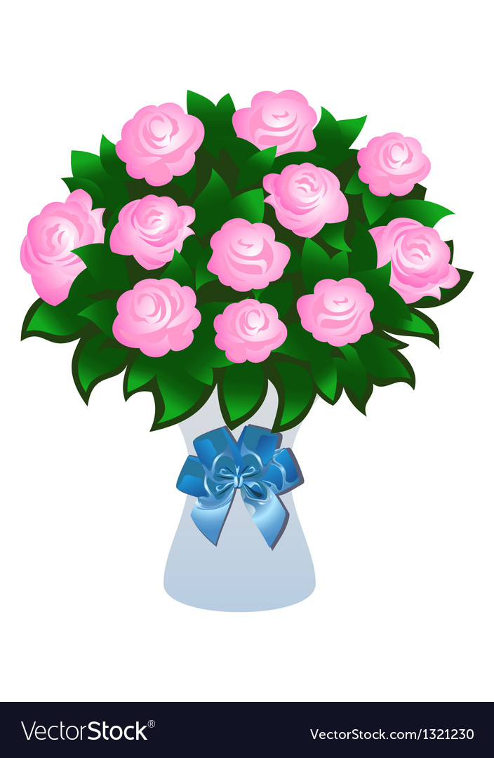 Pink roses with bow vector | Price: 1 Credit (USD $1)