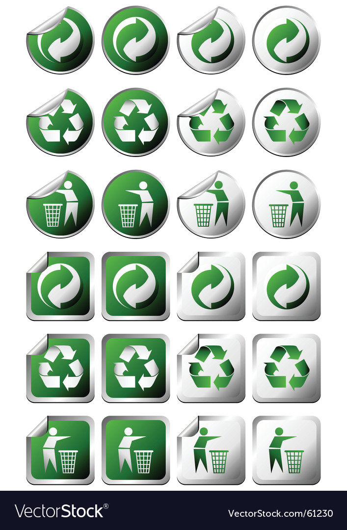 Recycle stickers vector | Price: 1 Credit (USD $1)