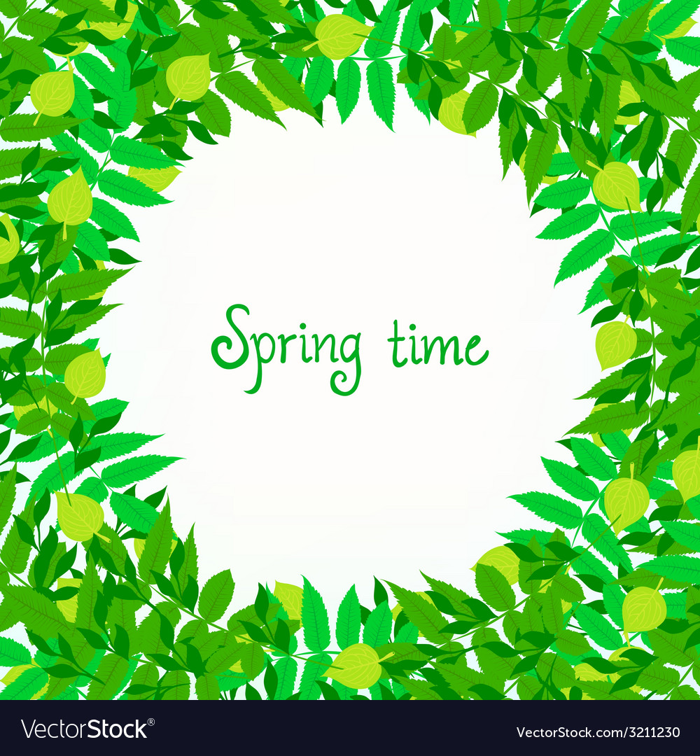 Spring card background with wreath of leaves vector | Price: 1 Credit (USD $1)