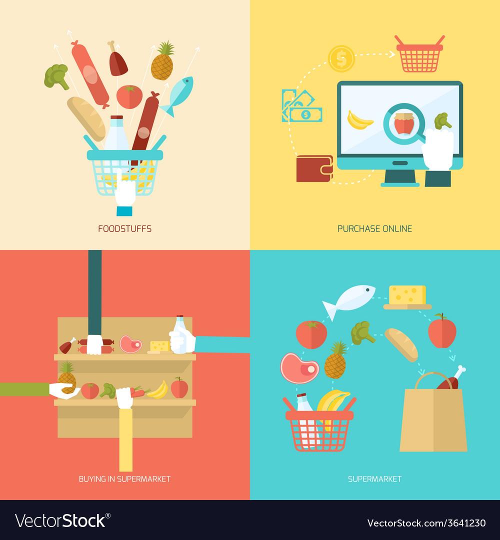 Supermarket flat set vector | Price: 1 Credit (USD $1)