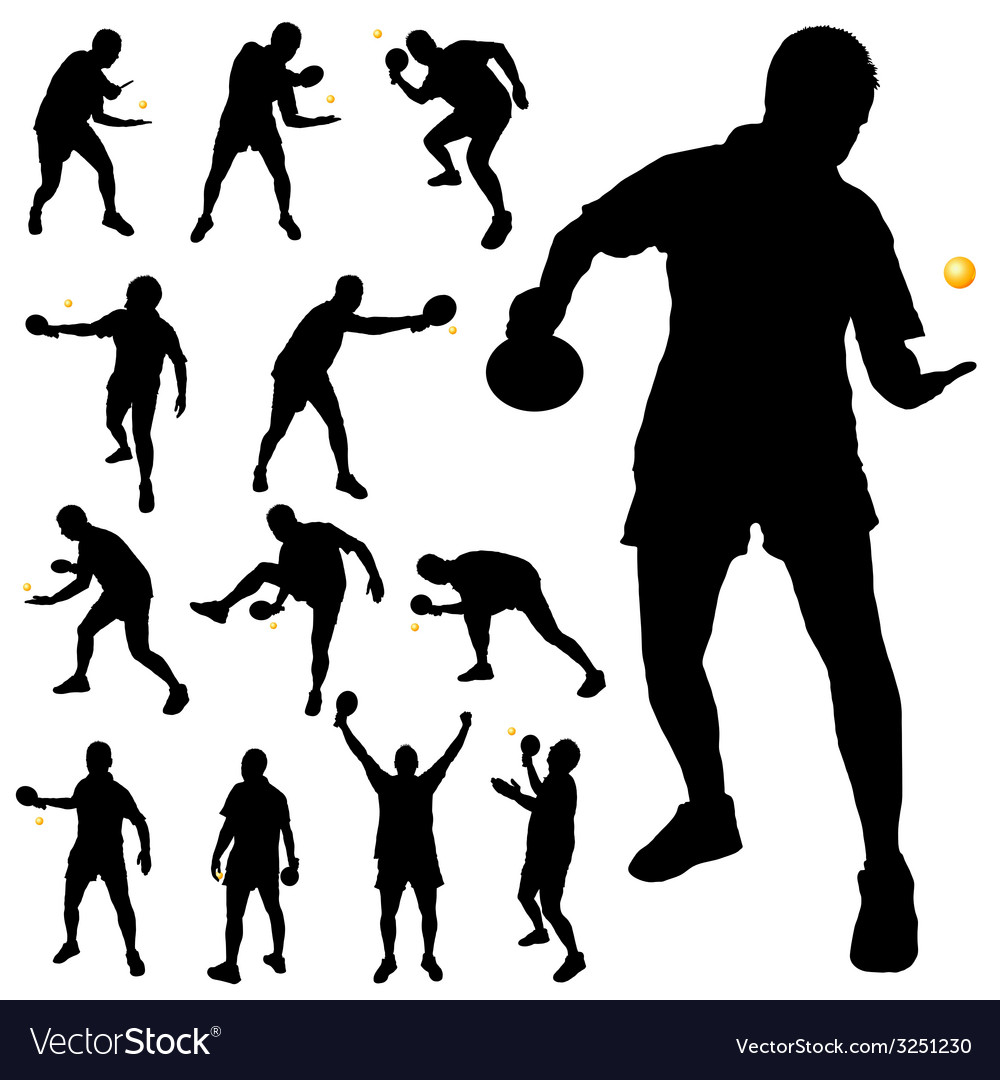 Table tennis player silhouette vector | Price: 1 Credit (USD $1)