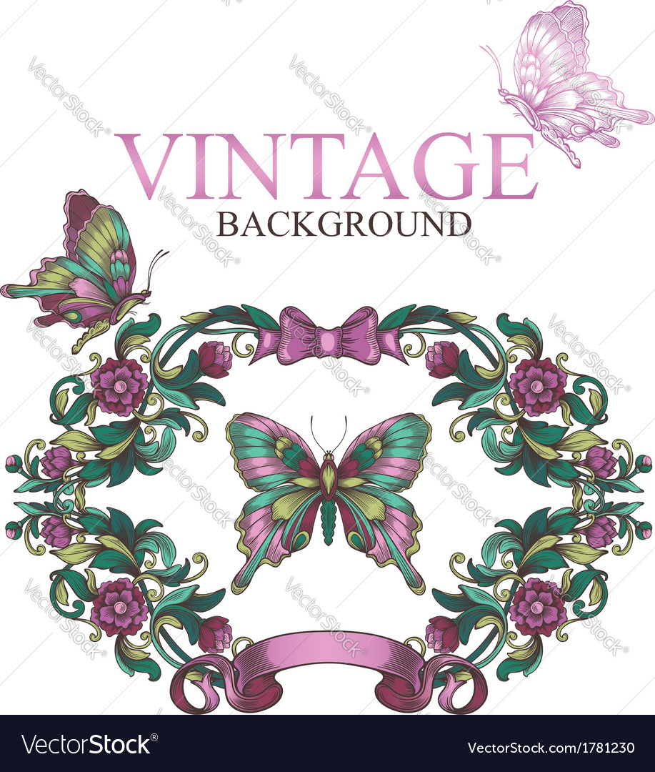 Vintage decorative floral frame with butterflies vector | Price: 1 Credit (USD $1)