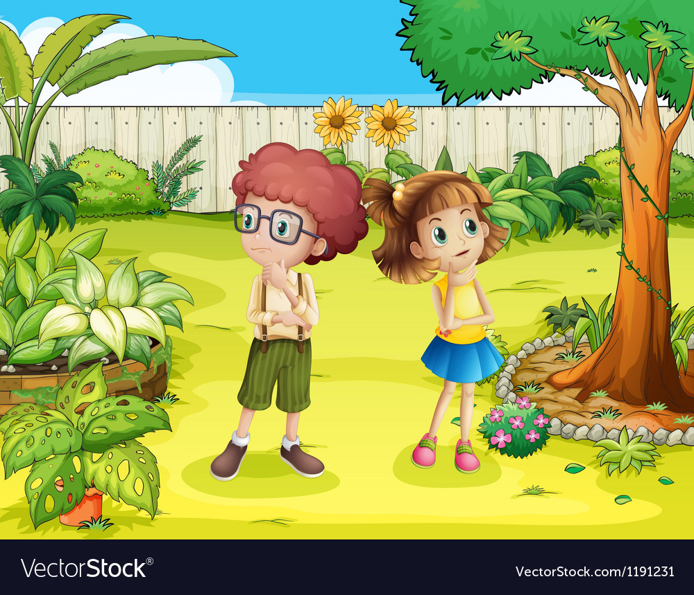 A girl and a boy in the backyard vector | Price: 1 Credit (USD $1)
