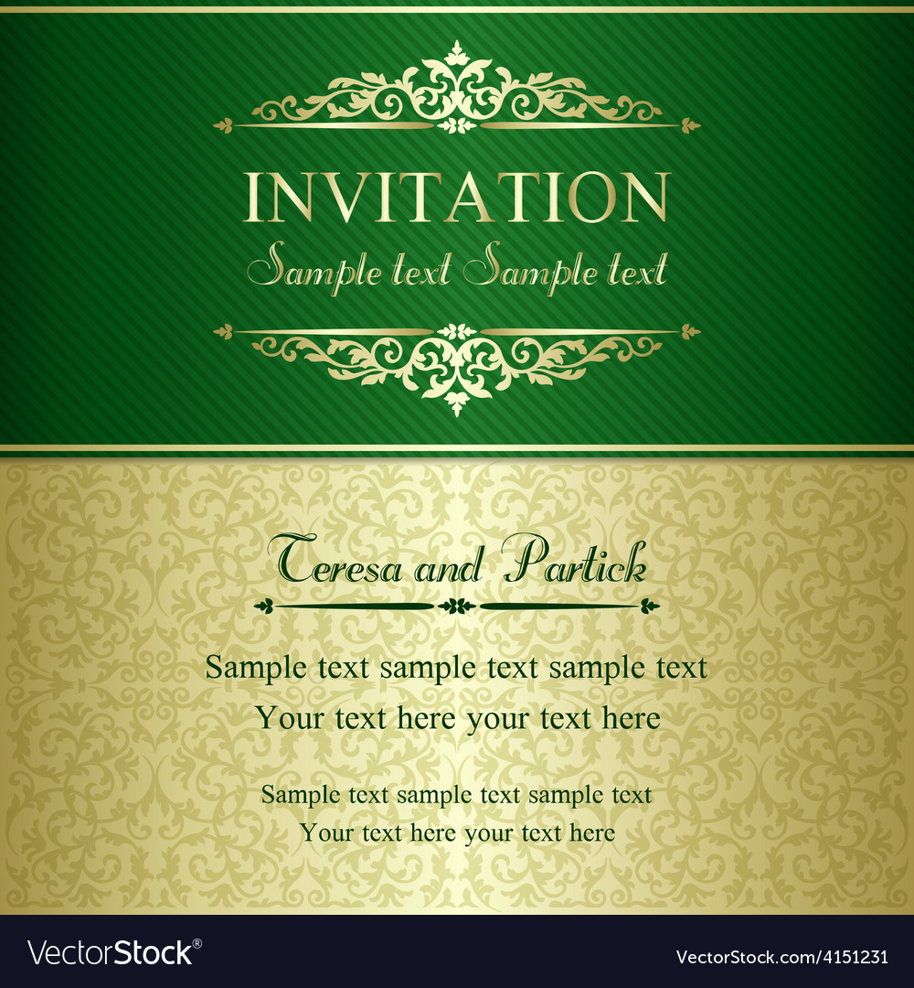 Baroque invitation gold and green vector | Price: 1 Credit (USD $1)