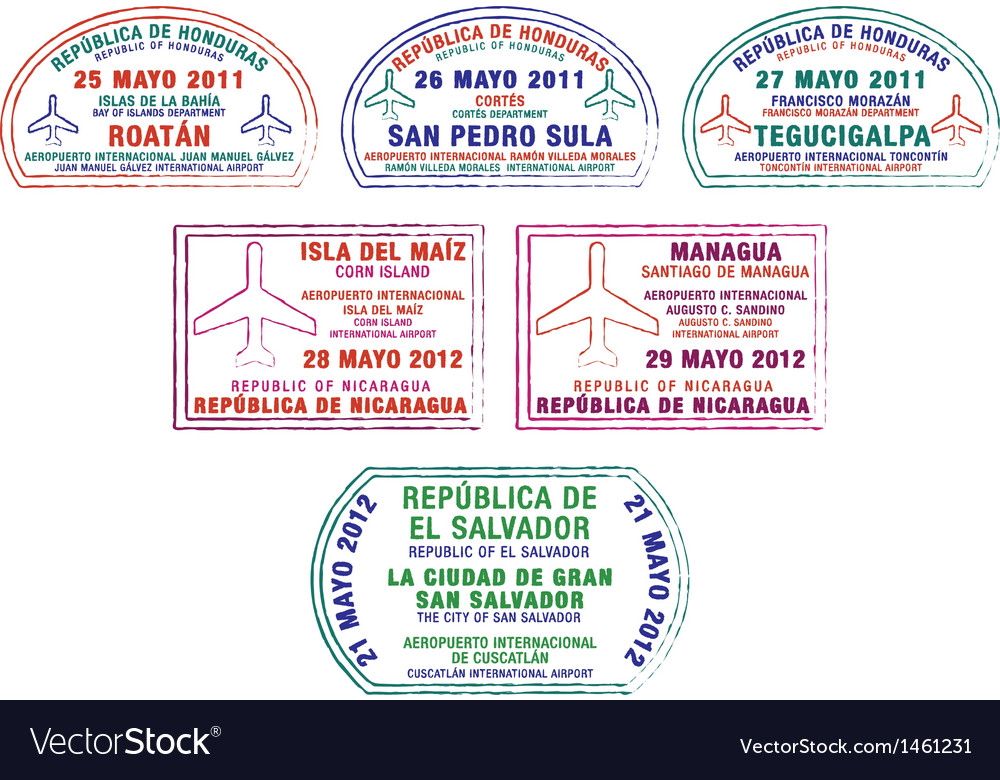 Central america passport stamps vector | Price: 1 Credit (USD $1)