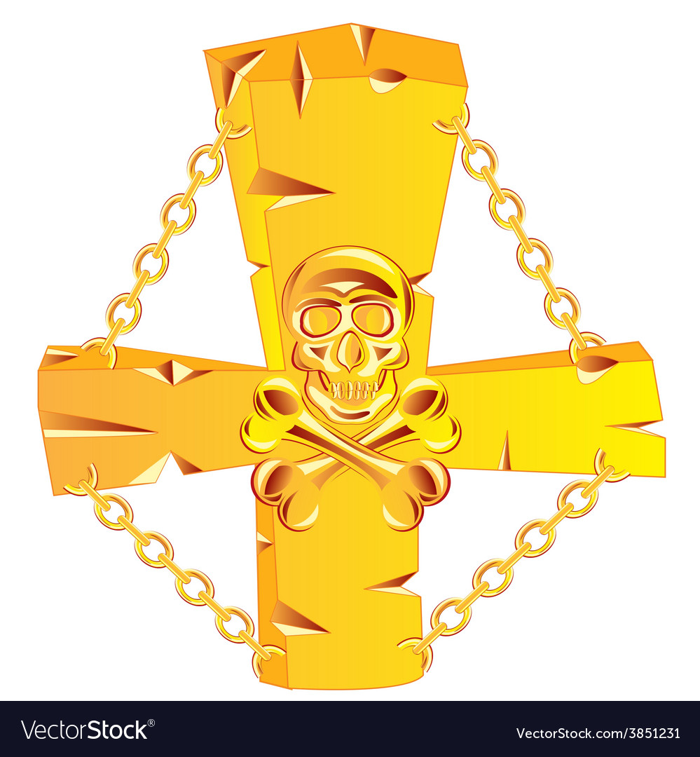 Cross and skull golden vector | Price: 1 Credit (USD $1)