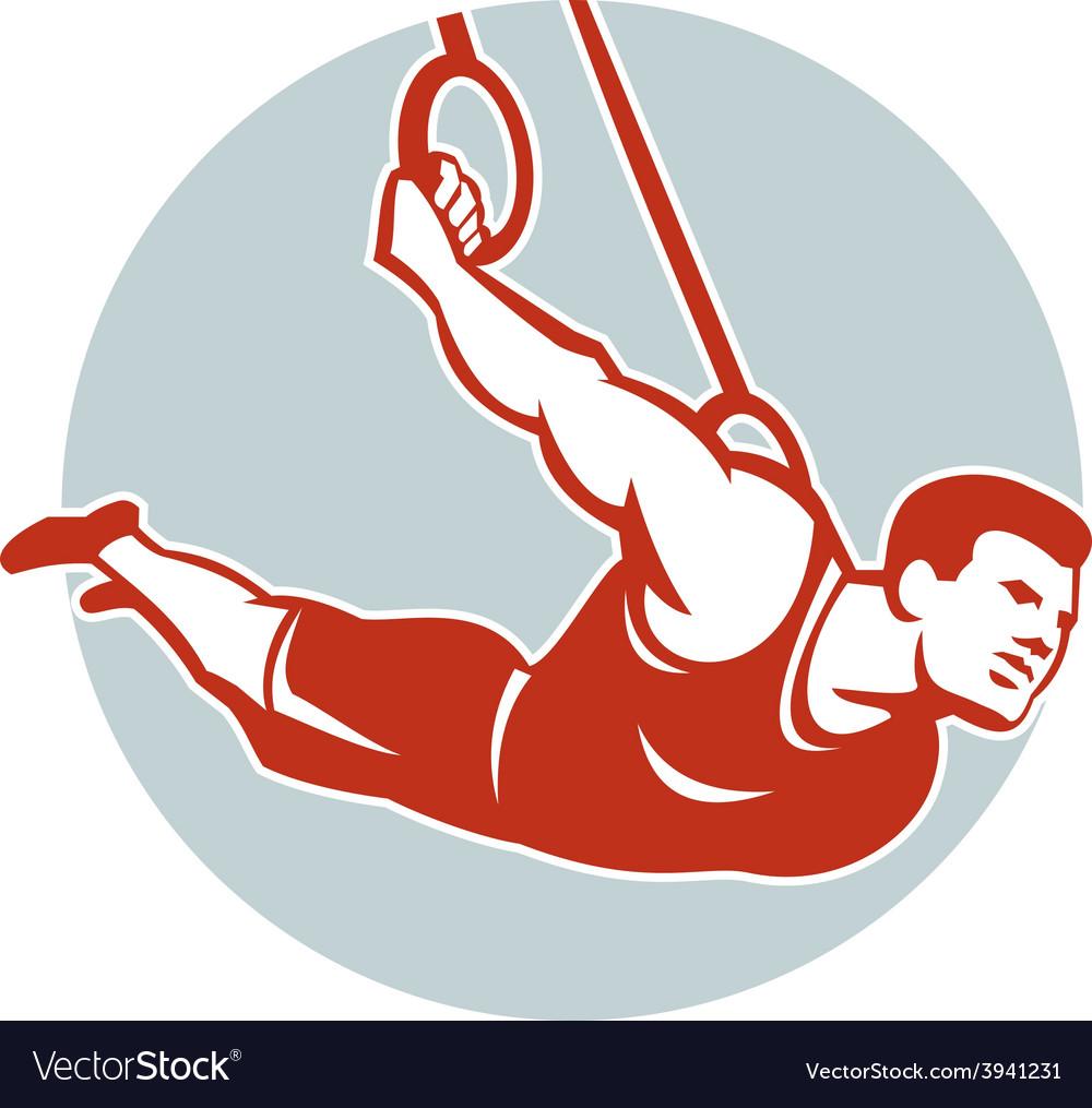 Crossfit athlete muscle-up gymnastics ring retro vector | Price: 1 Credit (USD $1)