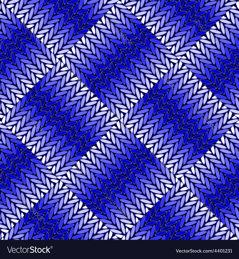 Design seamless blue knitted pattern vector | Price: 1 Credit (USD $1)