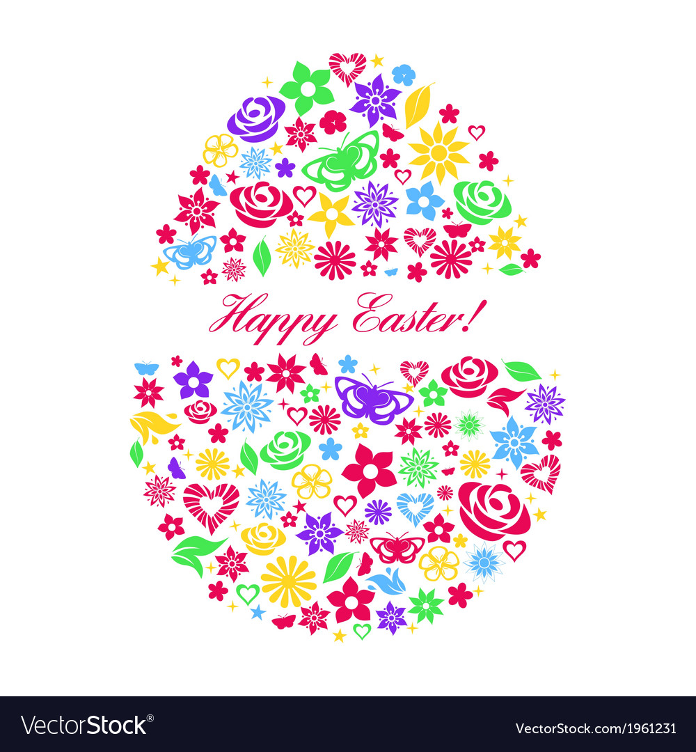 Easter egg consisting of multicolored flowers vector | Price: 1 Credit (USD $1)