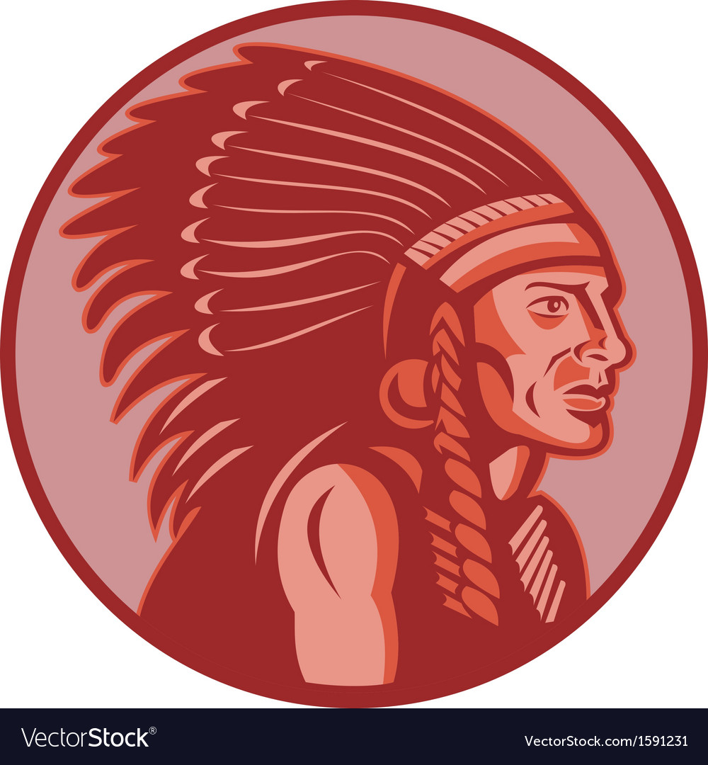 Native american indian chief side view vector | Price: 1 Credit (USD $1)