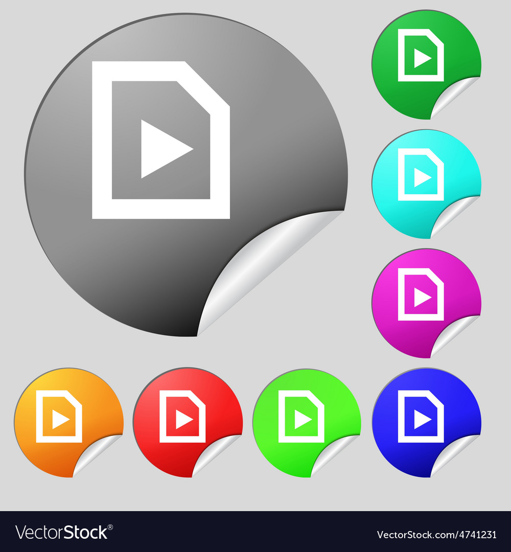 Play icon sign set of eight multi-colored round vector   Price: 1 Credit (USD $1)