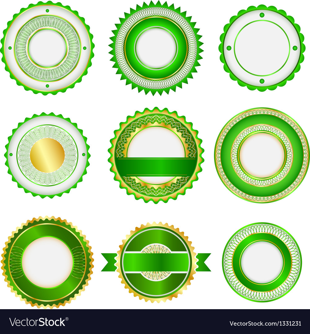 Set of badges labels and stickers in green vector | Price: 1 Credit (USD $1)