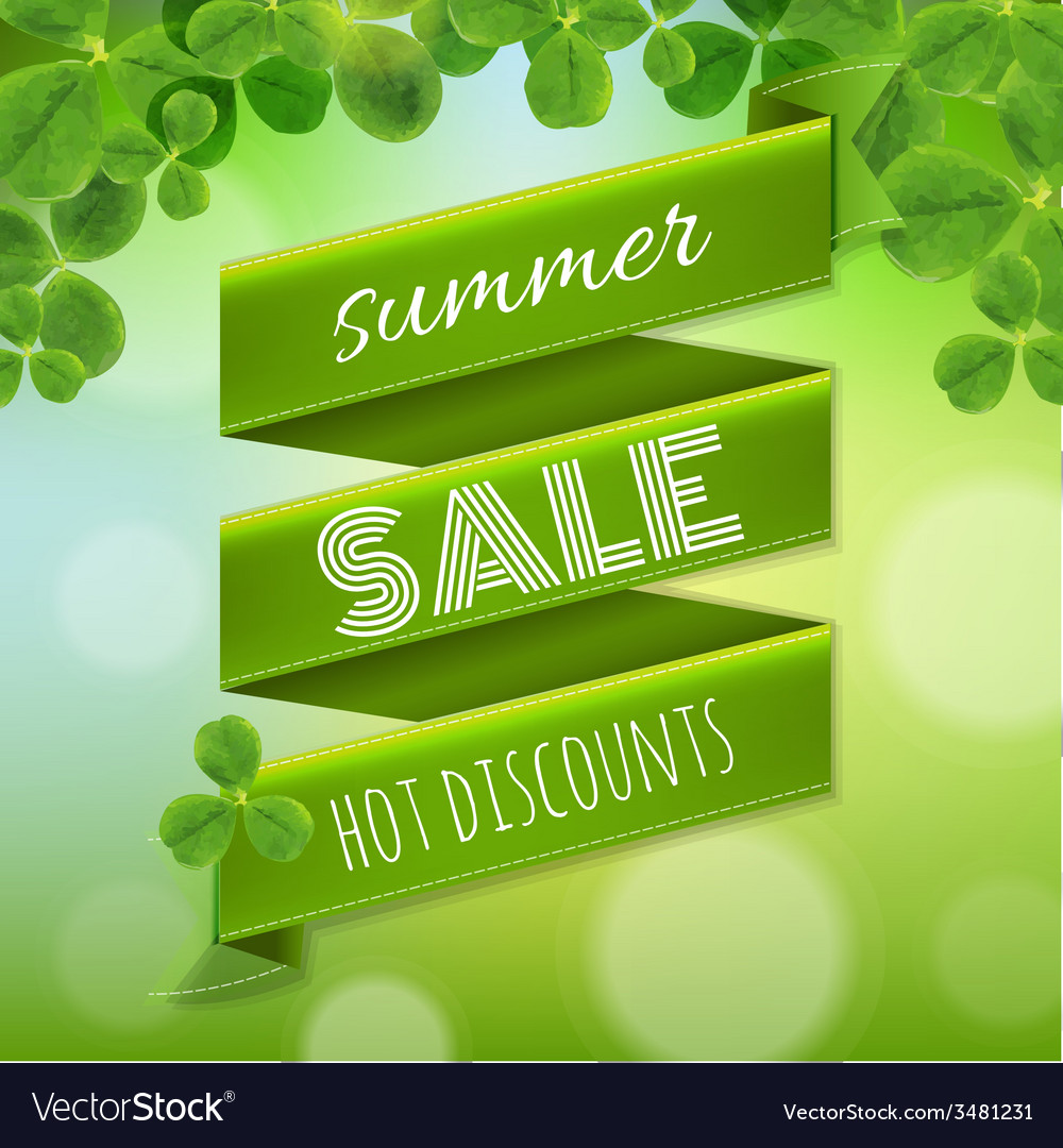 Summer sale poster with leaves vector | Price: 1 Credit (USD $1)