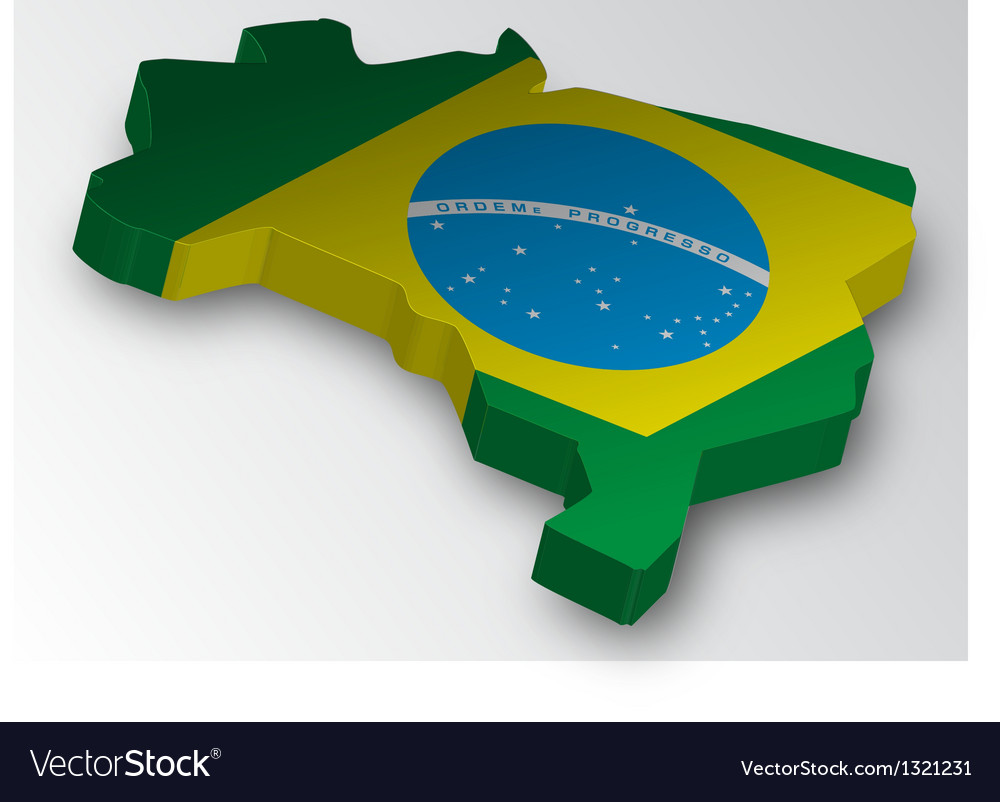 Three dimensional map of brazil in flag colors vector | Price: 1 Credit (USD $1)
