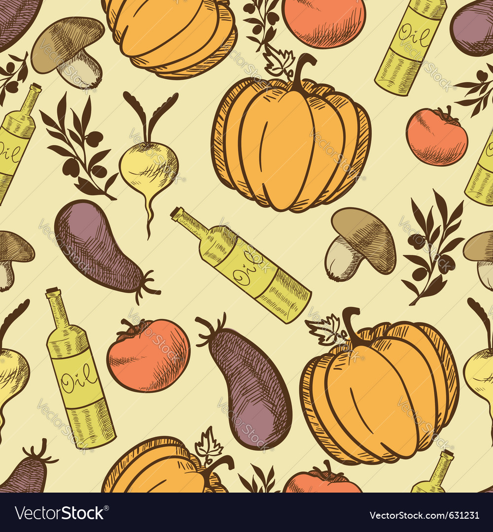 Vegetables in retro style seamless pattern vector | Price: 1 Credit (USD $1)