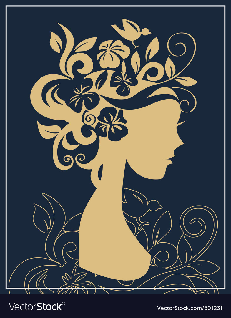 Woman silhouette in flowers vector | Price: 1 Credit (USD $1)