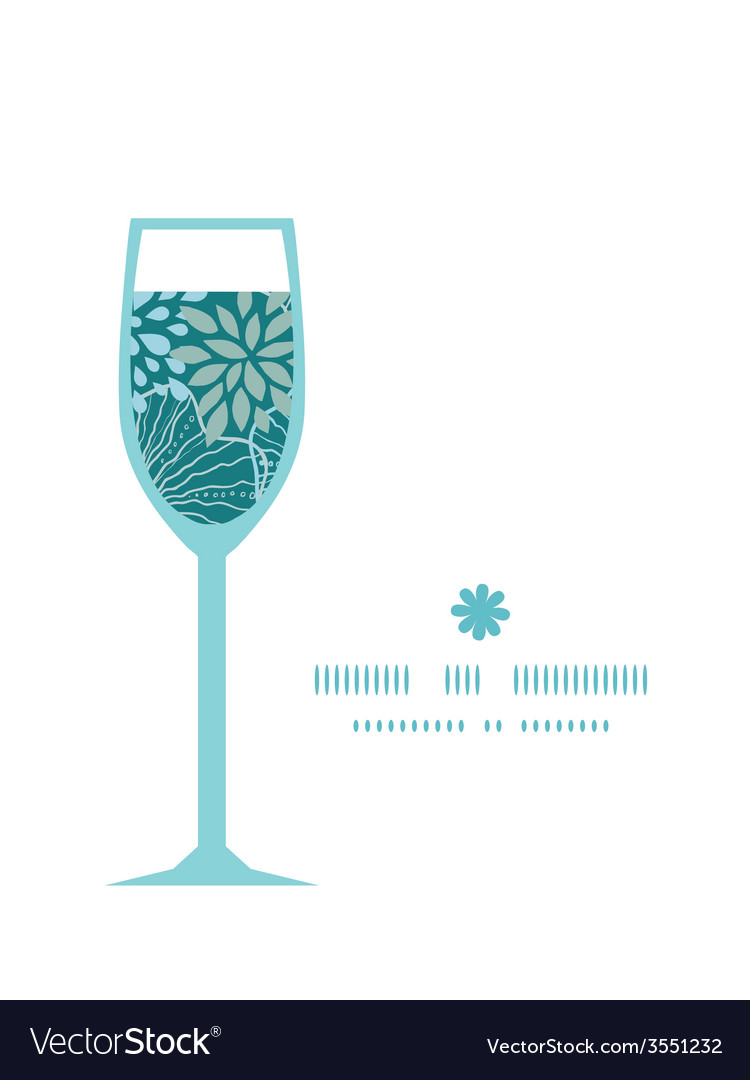 Blue and gray plants wine glass silhouette pattern vector | Price: 1 Credit (USD $1)