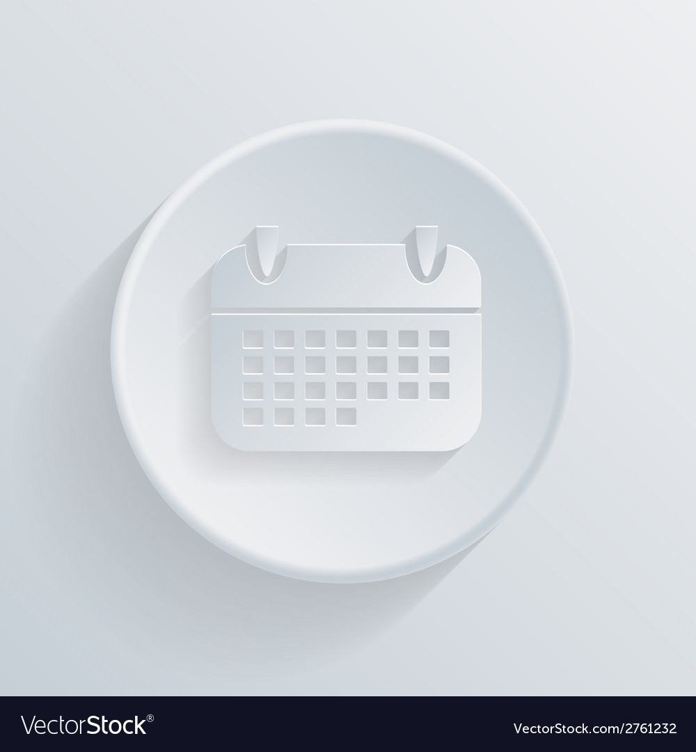 Circle icon with a shadow calendar sign vector | Price: 1 Credit (USD $1)