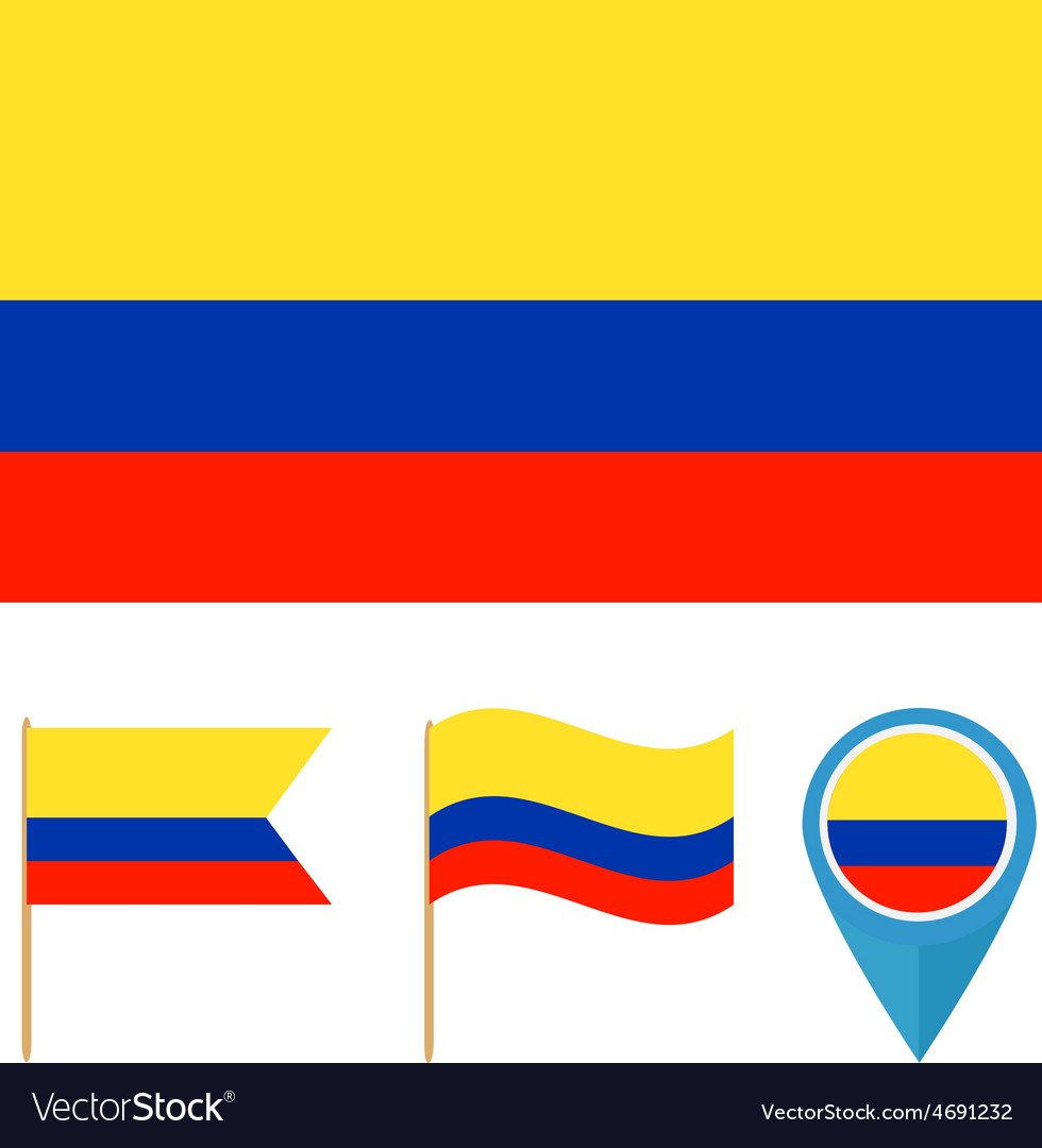 Colombia country flag vector | Price: 1 Credit (USD $1)