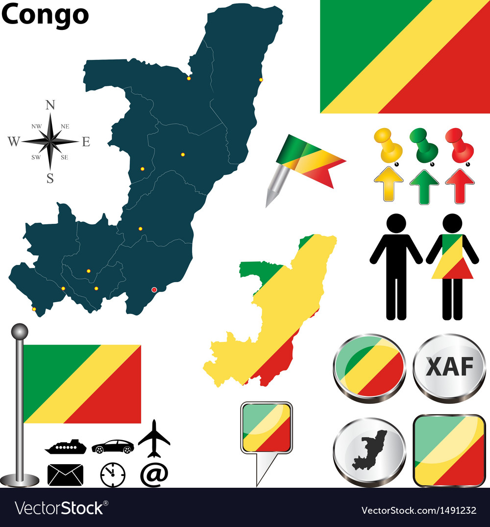 Congo map vector | Price: 1 Credit (USD $1)