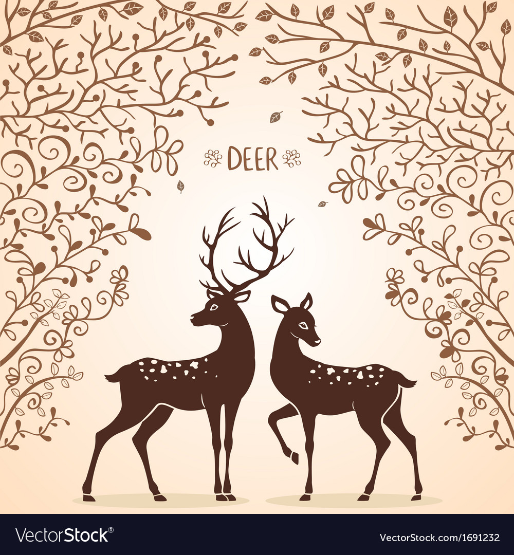 Deer trees vector | Price: 1 Credit (USD $1)