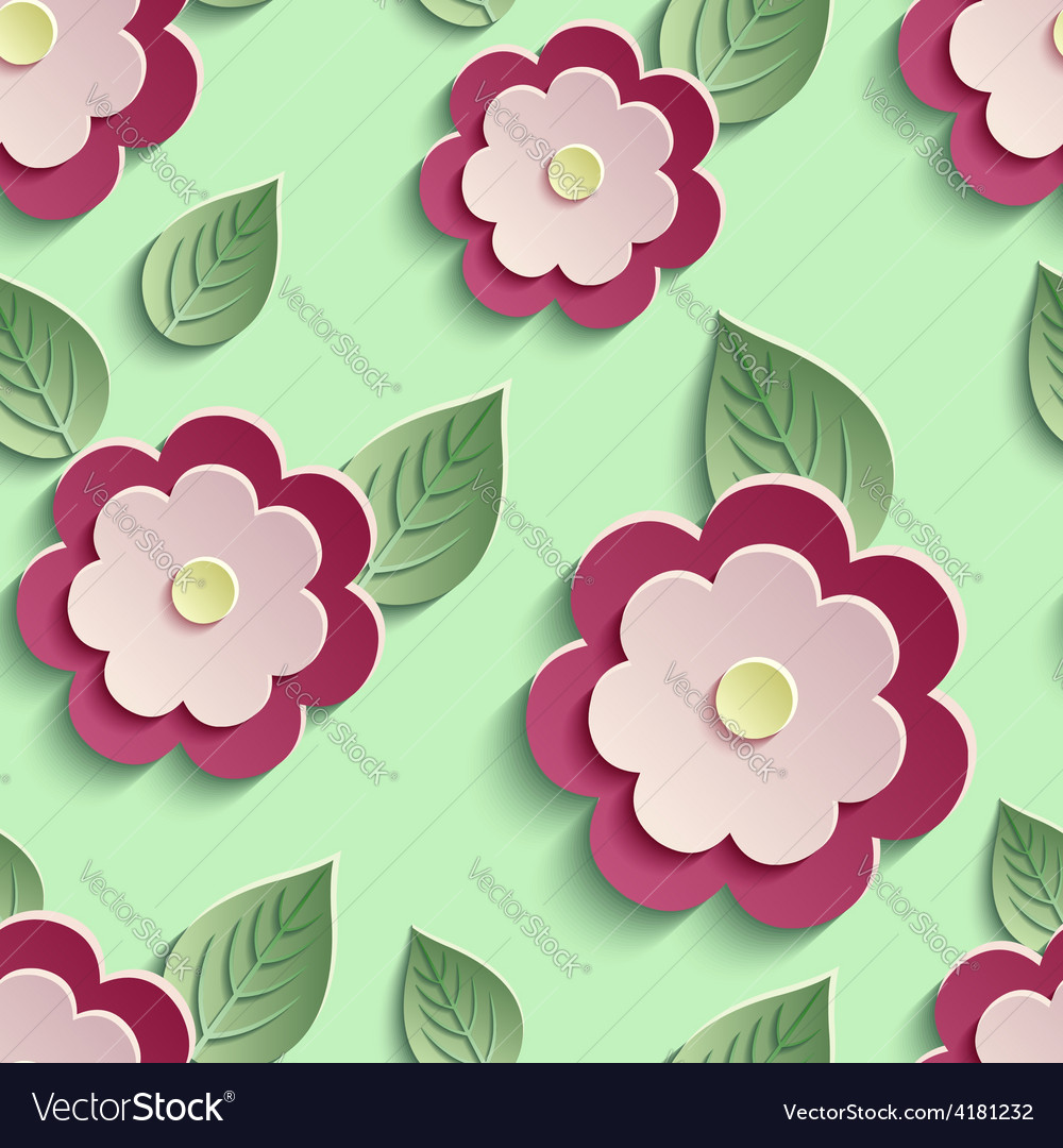 Floral background seamless pattern with 3d flowers vector | Price: 1 Credit (USD $1)