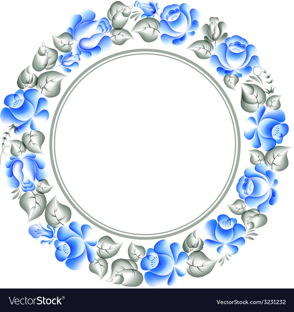 Gzhel style circle frame vector | Price: 1 Credit (USD $1)