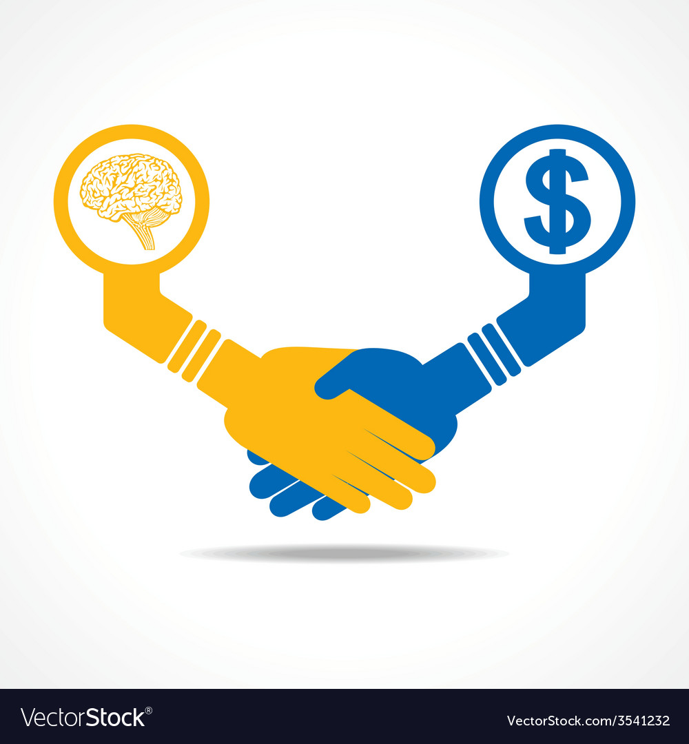 Handshake between men having idea and money vector