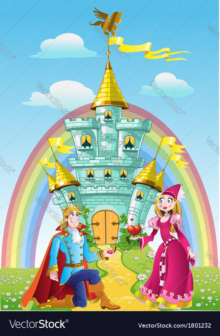 Handsome prince asked the hand of princess near vector | Price: 3 Credit (USD $3)