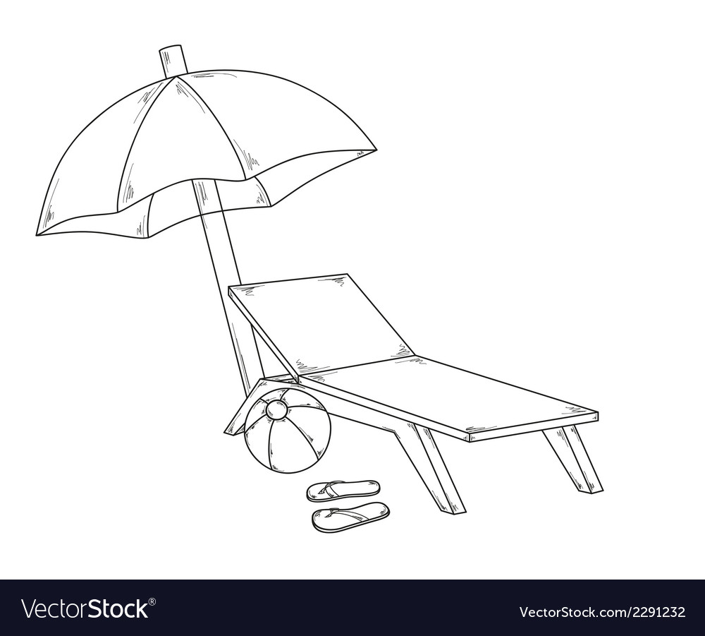 Parasol flops ball and chair vector | Price: 1 Credit (USD $1)