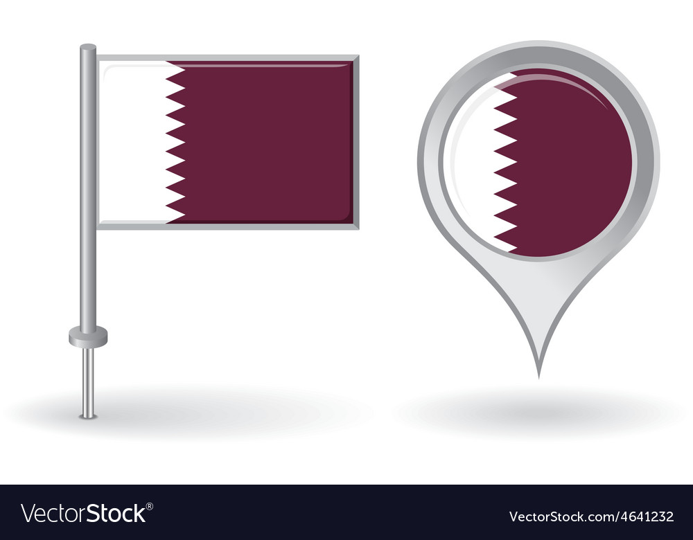 Qatari pin icon and map pointer flag vector | Price: 1 Credit (USD $1)